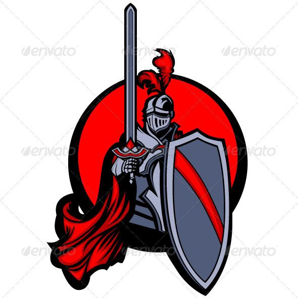 590x590 Medieval Knight With Sword And Shield Vector Masco Medieval