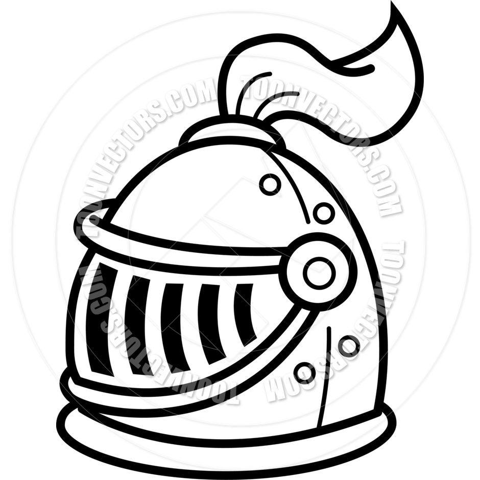 940x940 Cartoon Knight's Helmet (Black Amp White Line Art) By Kenbenner