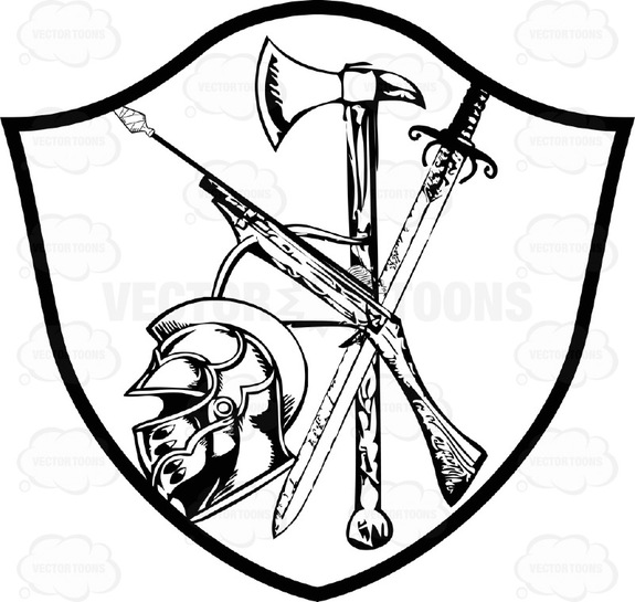 575x545 Black And White Coat Of Arms Crossbow, Ax, Sword And Knight Helmet