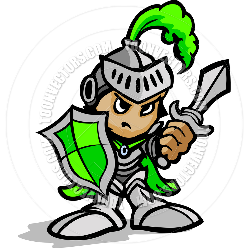940x940 Knight Warrior Cartoon Holding Sword And Shield Vector Image By