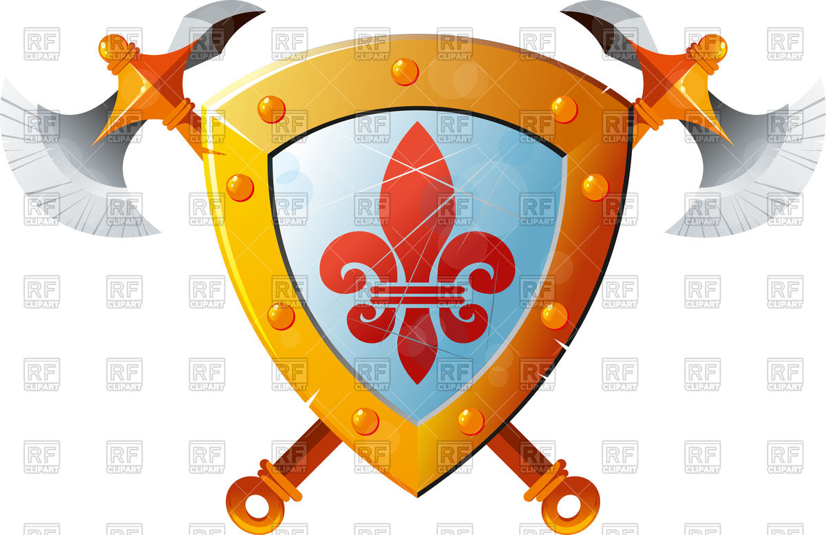 1200x777 Beautiful Knight Shield With Two Crossed Axes Free Vector Clip Art