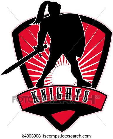 384x470 Stock Illustration Of Knight Sword Shield Side K4803908