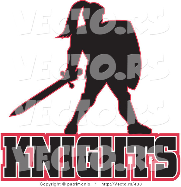 600x620 Vector Of A Knight Standing Above Knights Text Logo By Patrimonio
