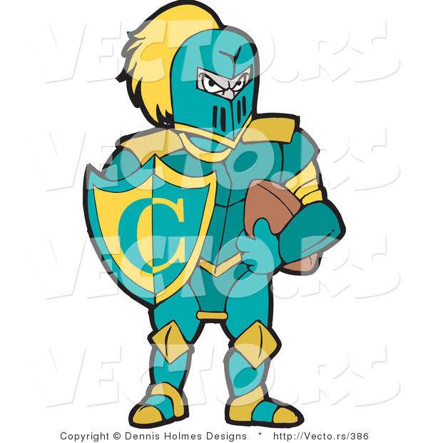 600x620 Vector Of A Knight With Football And Shield By Dennis Holmes