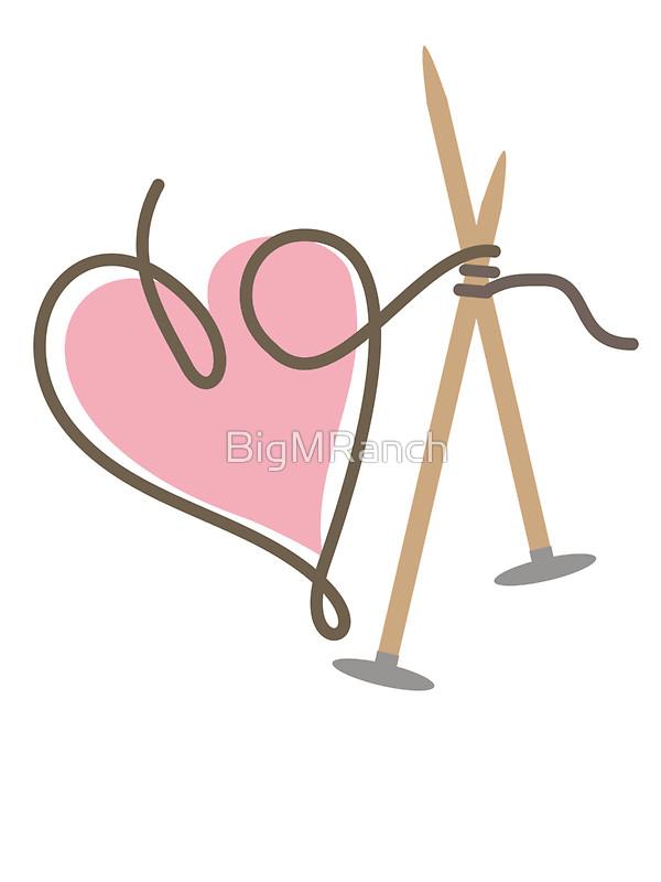 600x800 Love Knitting Needles Heart Yarn Stickers By Bigmranch Redbubble