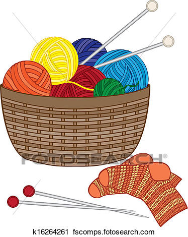 374x470 Clipart Of Knitting, Basket With Wool Balls K16264261