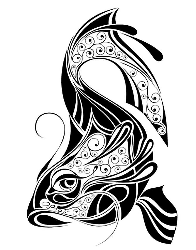 668x850 Drawn Koi Carp Tribal