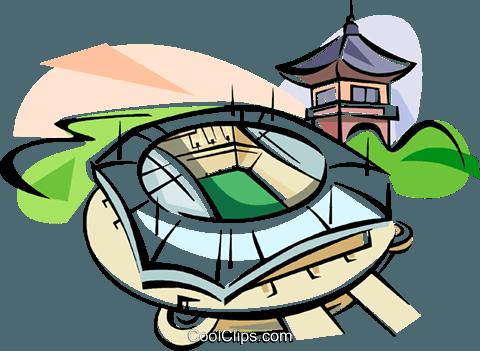 480x351 Korea Olympic Stadium, World Cup Stadium Royalty Free Vector Clip