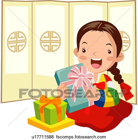 450x455 Clip Art Of First Day Of The Year, Gift, Present, Korean Dress
