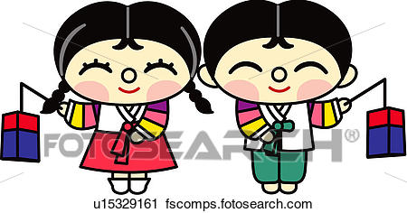 450x236 Clipart Of People, Girl, Korean Lamp, Holding, Korean Dress, Boy