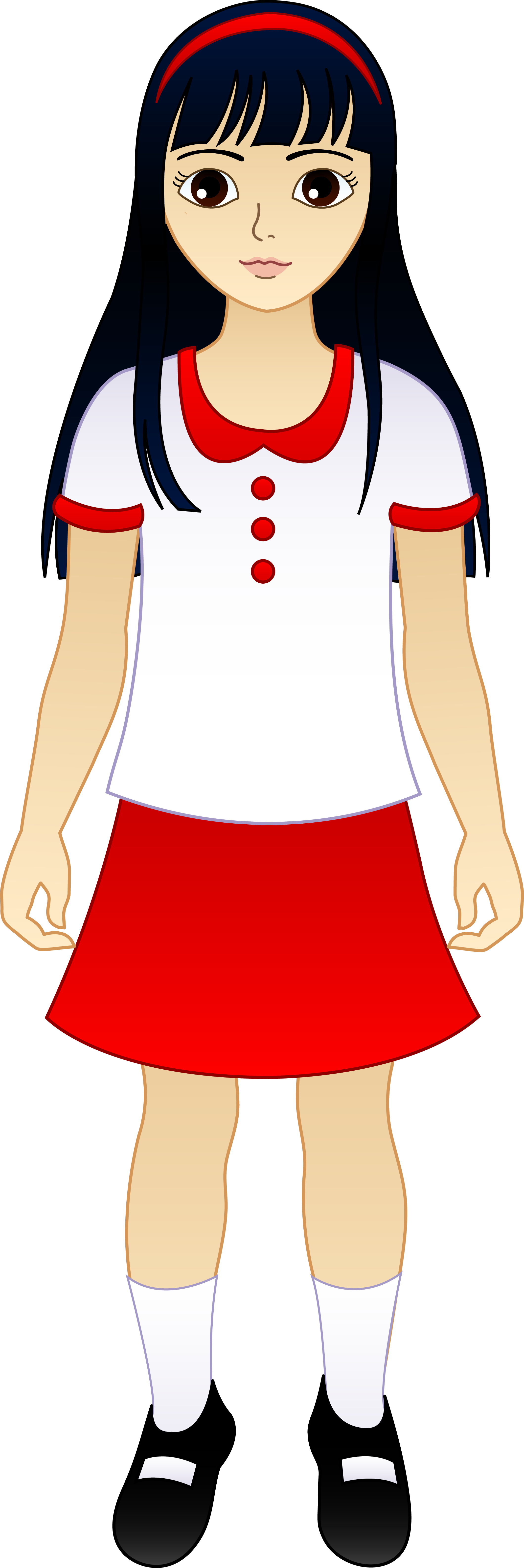 2119x6330 Korean Girl Clipart