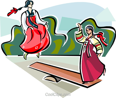 480x405 Korean Girls Playing Balance Game Royalty Free Vector Clip Art