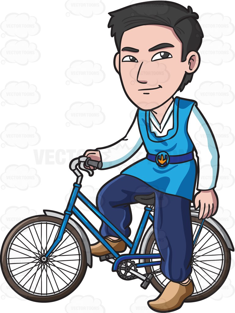 769x1024 A Korean Man Riding A Bike Cartoon Clipart