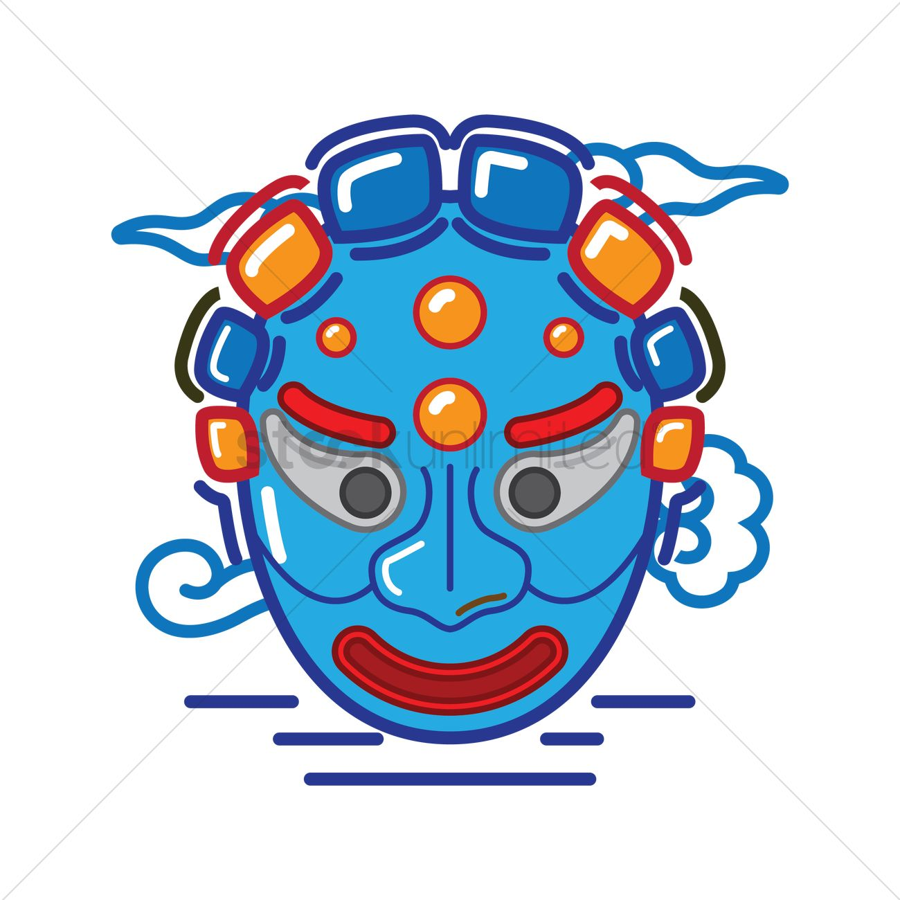 1300x1300 Korean Traditional Mask Design Vector Image