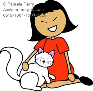 300x294 Art Image Of A Cartoon Asian Girl Sitting With Her Cat