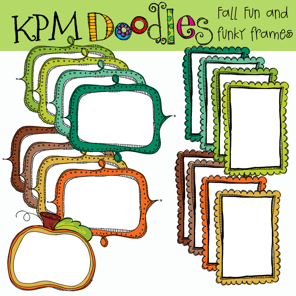 1000x1000 Fall Funky Frames Digital Clip Art