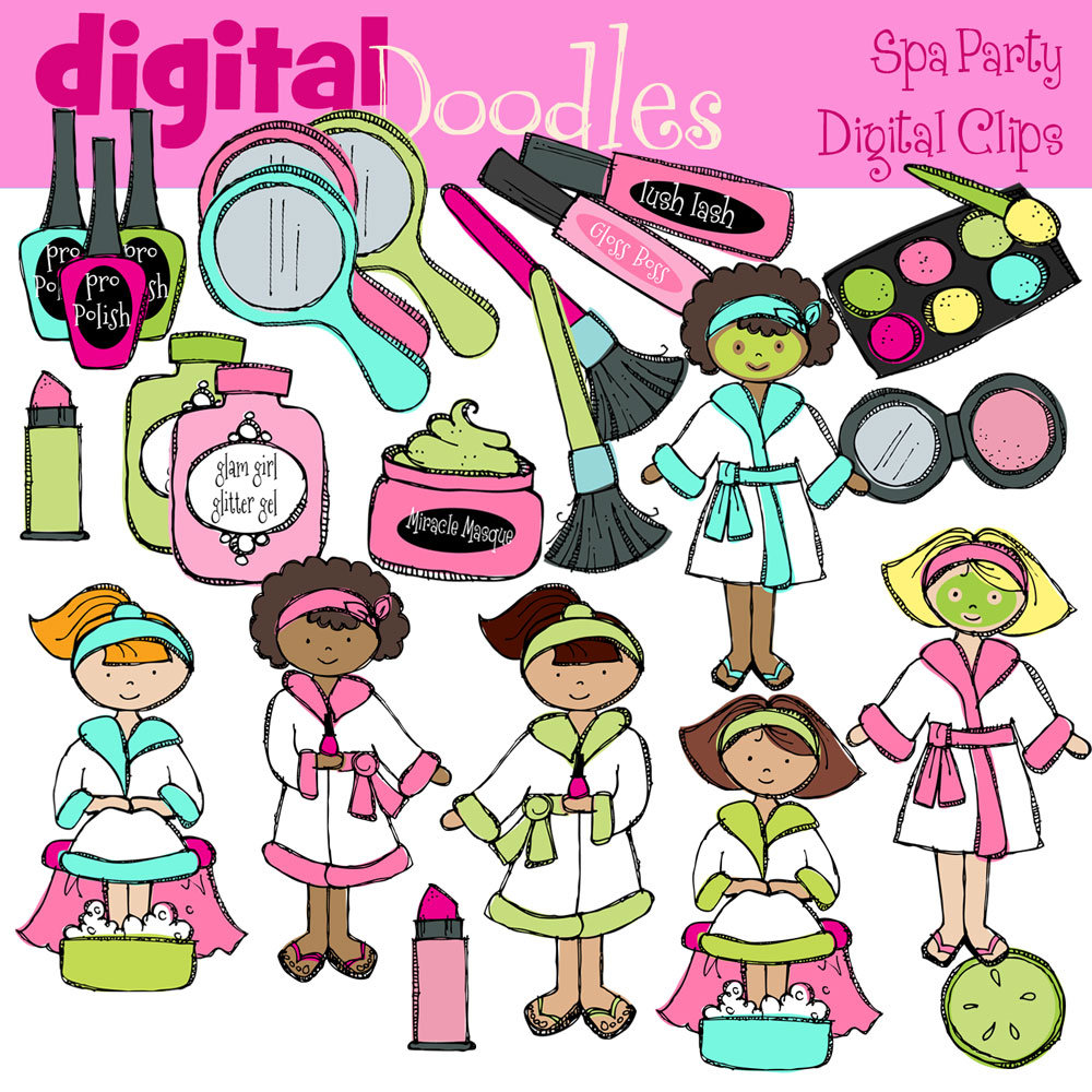1000x1000 Spa Party Digital Clip Art