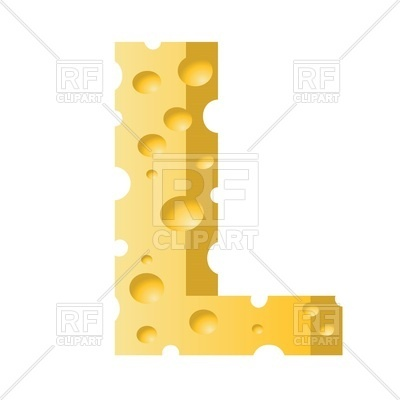400x400 Font Made Of Cheese, Letter L Royalty Free Vector Clip Art Image
