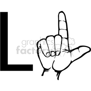 300x300 Royalty Free Asl Sign Language L Clipart Illustration Worksheet