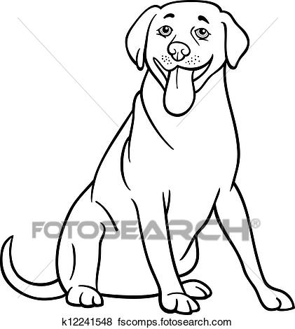 421x470 Clip Art Of Labrador Retriever Dog Cartoon For Coloring K12241548