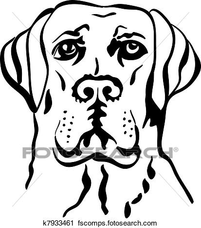 413x470 Clipart Of Vector Sketch Dog Breed Labrador Retrievers K7933461