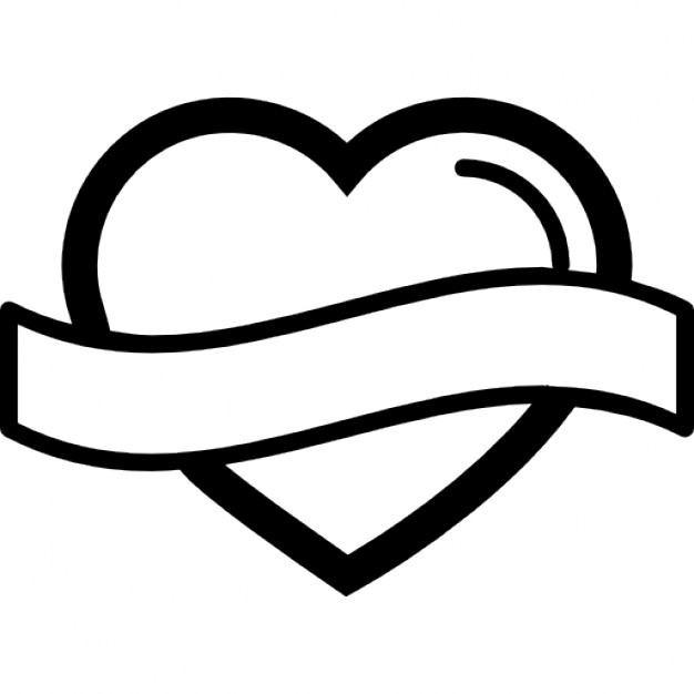 626x626 Heart Outline Heart Shape Outline With Banner Label Icons Free