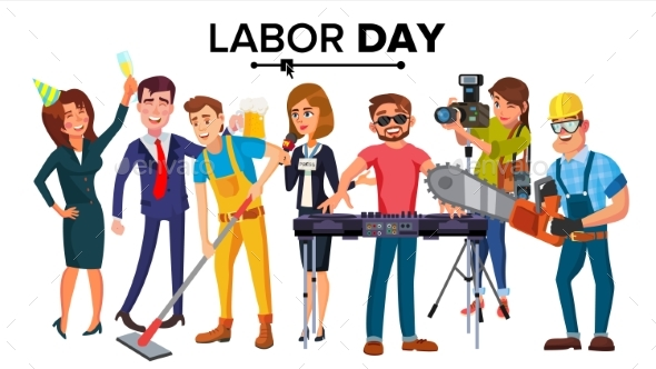 590x332 Labor Day Vector. Group Of People. Modern Jobs By Pikepicture