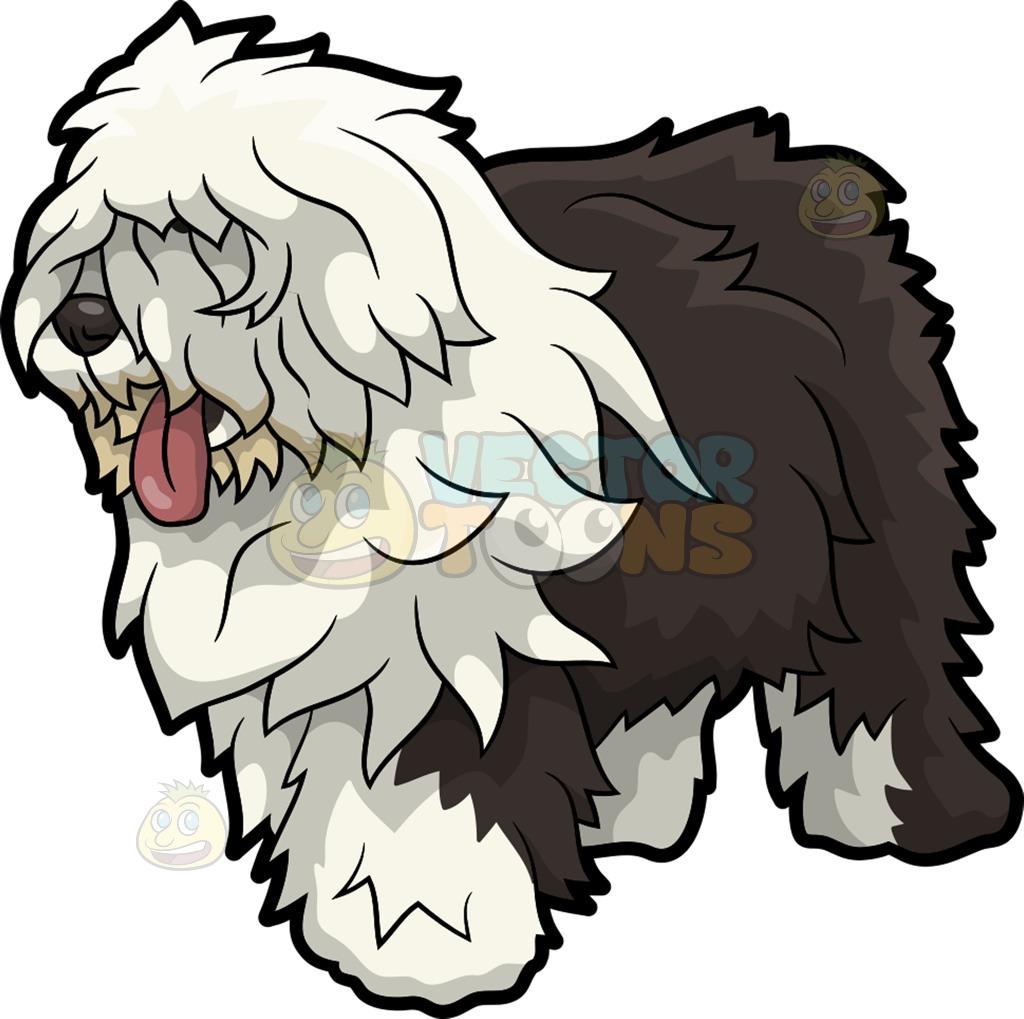 1024x1019 An Old English Sheepdog Dog Cartoon Clipart