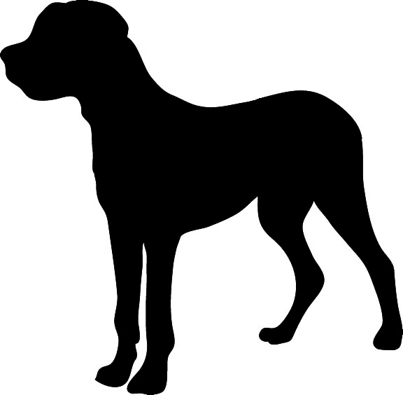 576x564 Mastiff Clipart Dog Silhouette