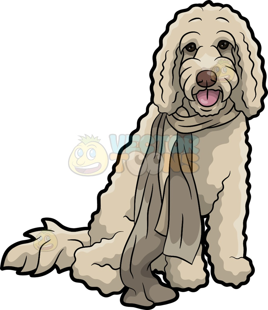 885x1024 A Curly Dog Wearing A Scarf Cartoon Clipart