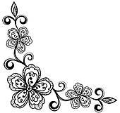 170x161 Clip Art Of Corner Ornamental Lace Flowers. Bla K13111488