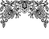 170x136 Clipart Of Black Vector Lace Corner K19452881