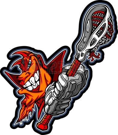 393x450 Graphic Image Of A Red Devil With Lacrosse Gloves Holding Lacrosse
