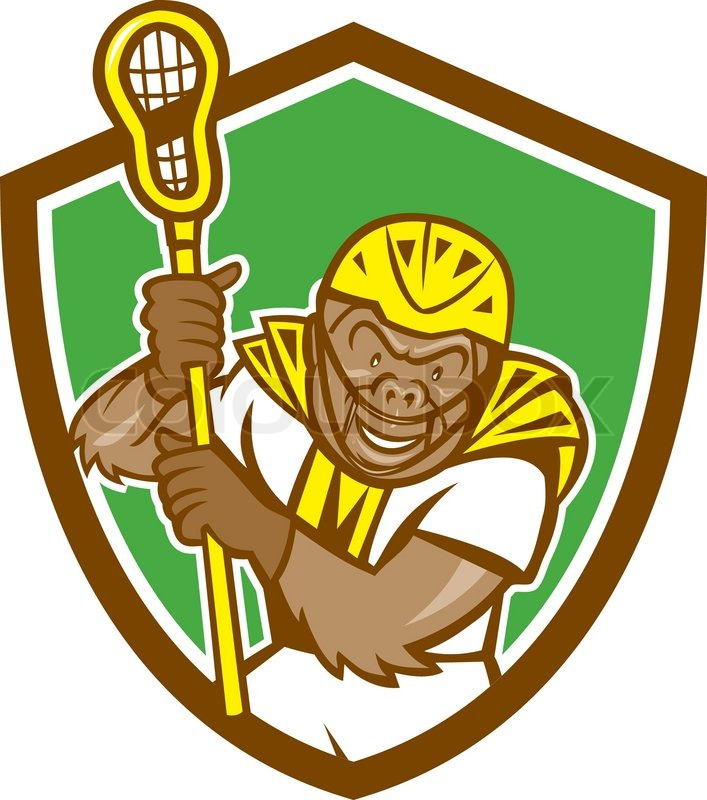 707x800 Illustration Of A Gorilla Ape Lacrosse Player Wearing Helmet