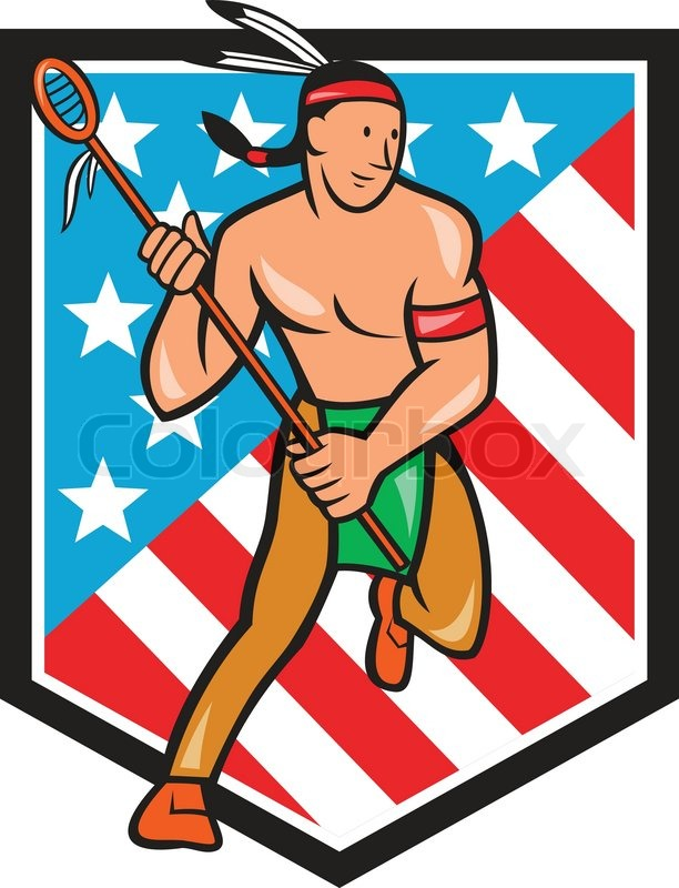 612x800 Illustration Of A Native American Lacrosse Player Holding A Crosse