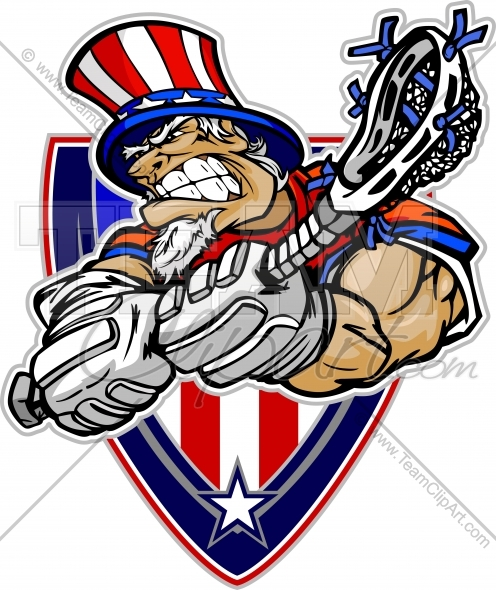 496x590 July 4th Lacrosse Clipart Image. Easy To Edit Vector Format.