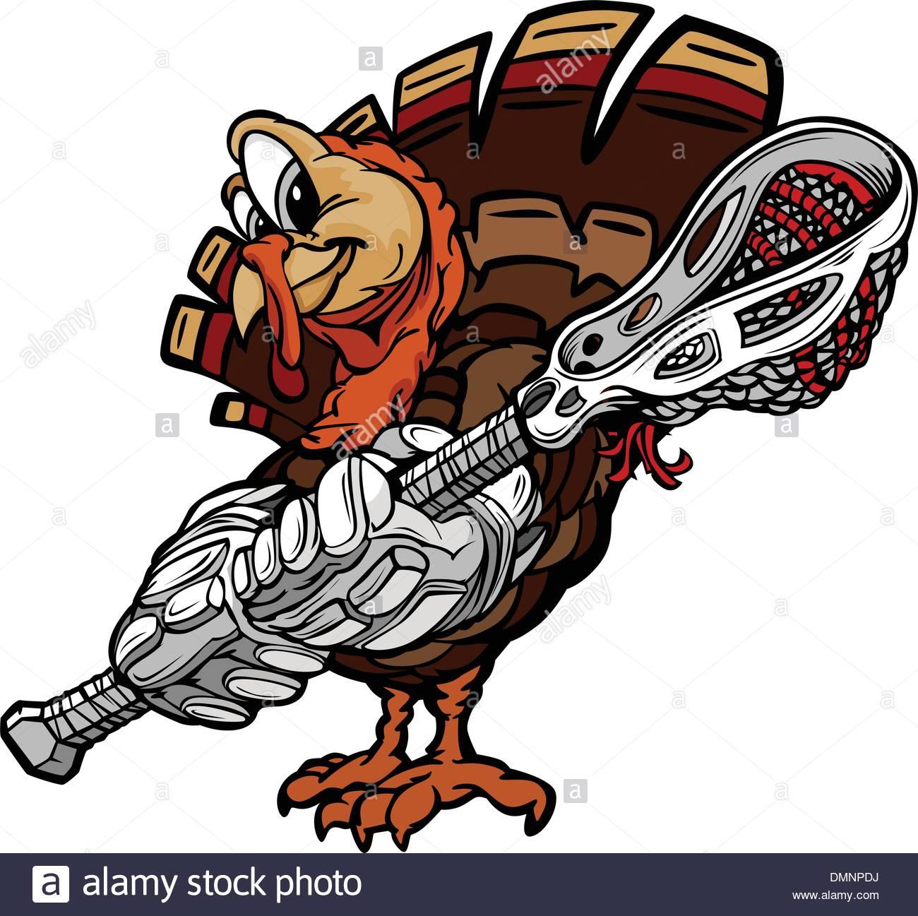 1300x1297 Lacrosse Thanksgiving Holiday Turkey Cartoon Vector Illustration