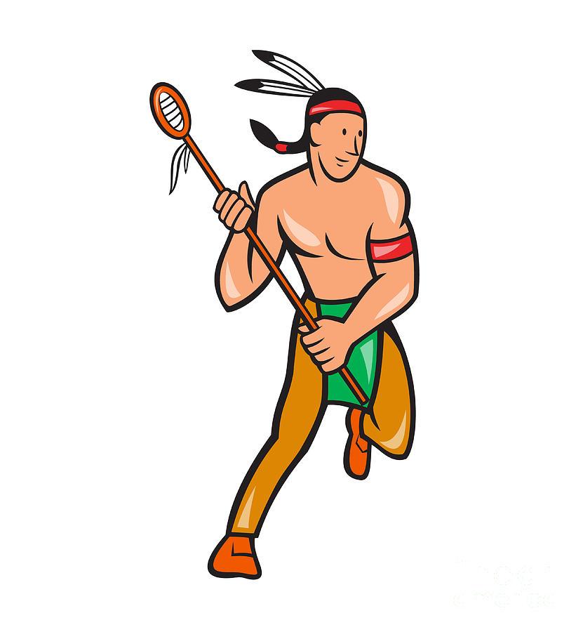 831x900 Native American Lacrosse Player Cartoon Digital Art By Aloysius