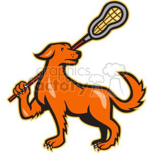 300x300 Royalty Free Dog Lacrosse Stick 388092 Vector Clip Art Image