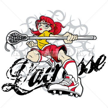 361x361 Sports Clipart Image Of Of A Girls Lacrosse Player And Tribal
