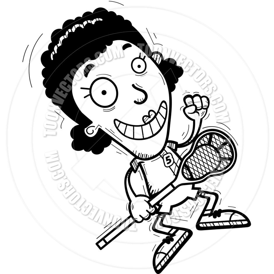 940x940 Cartoon Black Lacrosse Player Jumping (Black Amp White Line Art) By