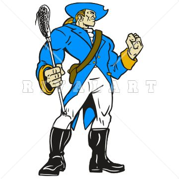 361x361 Mascot Clipart Image Of A Patriots Lacrosse Player With Muscles
