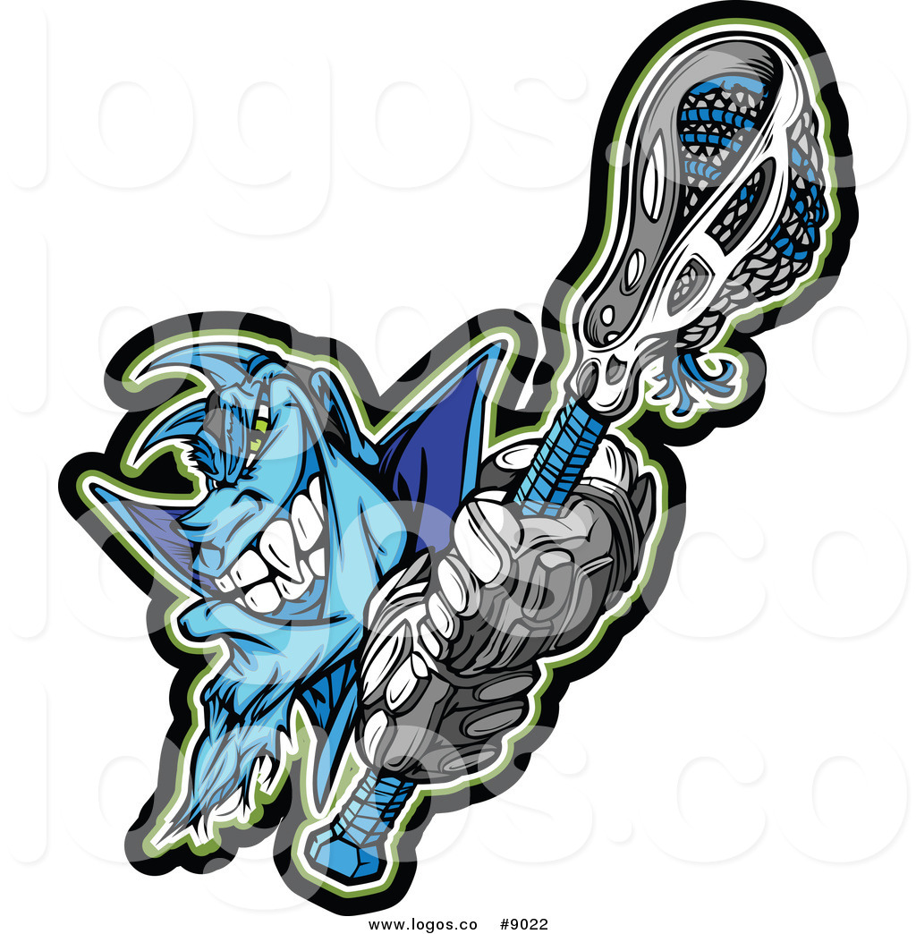 1024x1044 Royalty Free Clip Art Vector Logo Of A Blue Lacrosse Demon Holding