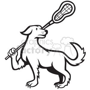 300x300 Royalty Free Black And White Dog Lacrosse Stick 388170 Vector Clip
