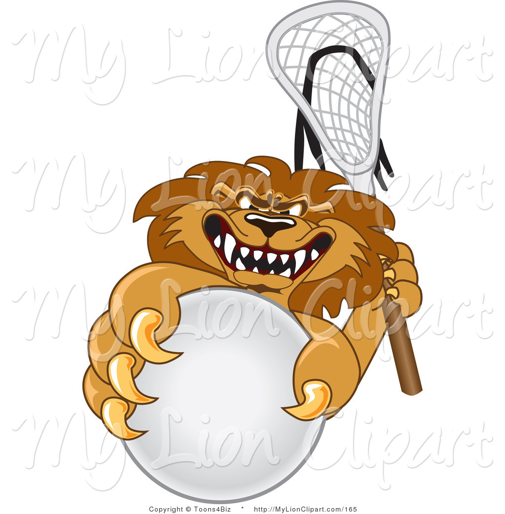 1024x1044 Clipart Of A Scary Lion Character Mascot Playing Lacrosse By