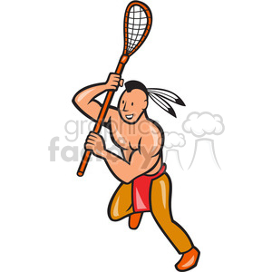 300x300 Royalty Free Lacrosse Indian Player Running Right Side 389965