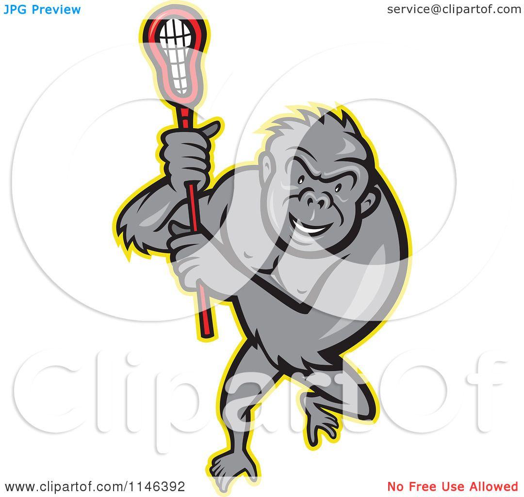 1080x1024 Cartoon Of A Lacrosse Gorilla Holding A Stick