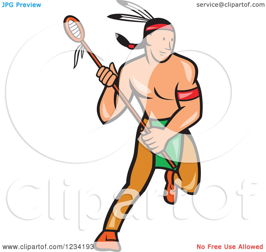 1080x1024 Clipart Of A Native American Lacrosse Player With A Stick