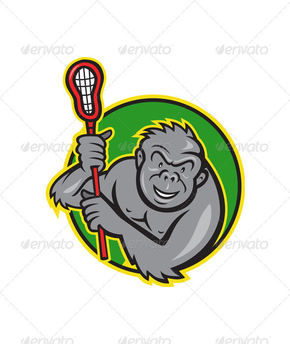 590x700 Gorilla Ape With Lacrosse Stick Cartoon By Patrimonio Graphicriver