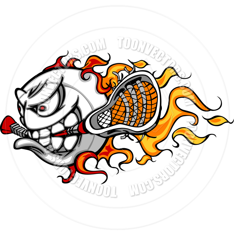940x940 Lacrosse Ball With Lacrosse Stick And Flames Vector Image By